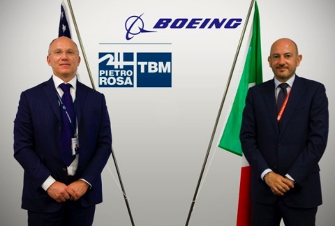 Left to right: Mauro Fioretti (Pietro Rosa TBM - President & CEO),  Antonio De Palmas (Boeing Italy – President) (Photo: Business Wire)