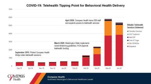 Compass Health Billable Services Delivered by Telehealth September 2019 - June 2020. (Graphic: Business Wire)