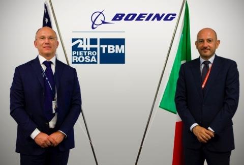 Left to right: Mauro Fioretti (Pietro Rosa TBM - President & CEO), Antonio De Palmas (Boeing Italy – President) (Photo: Business Wire)