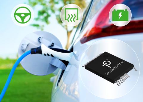 Power Integrations、バッテリー式及びプラグイン ハイブリッド式 電気自動車向けに高集積 InnoSwitch3 フライバック スイッチング電源用 IC をリリース (画像:ビジネスワイヤ)
