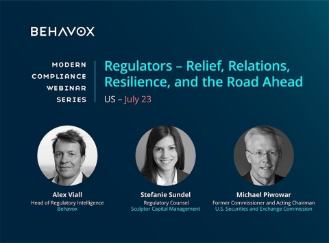 Former SEC Commissioner and Acting Chairman Michael Piwowar offers insights on current regulatory compliance environment at Behavox's upcoming webinar (Graphic: Business Wire)