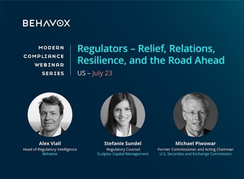 L'ancien commissaire de la SEC et président par intérim, Michael Piwowar, offrira un aperçu de l'environnement actuel de conformité réglementaire lors du prochain webinaire de Behavox (Graphic: Business Wire)