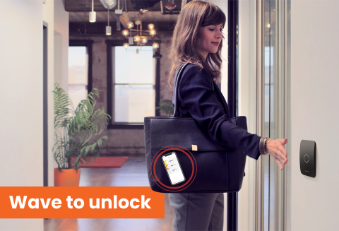 Openpath allows anyone to use their mobile phone to open an authorized door with the wave of a hand, without needing the phone or app open. (Photo: Business Wire)