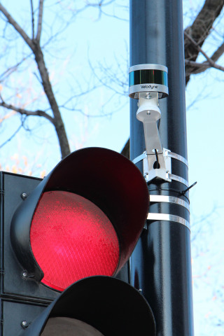 The Blue City Technology solution, equipped with Velodyne's lidar sensors, helps improve road safety and mobility by providing real-time multi-modal traffic data and analytics to traffic lights. (Photo: Blue City Technology)