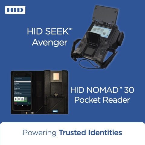 The expanded iOS, in addition to Android, availability of the HID NOMAD™ 30 Pocket Reader and Windows 10 availability for the HID SEEK™ Avenger rugged handheld biometric reader extends HID's biometric identity verification solutions to police departments and military installations around the world. (Graphic: Business Wire)