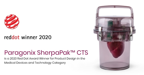Paragonix SherpaPak CTS is a 2020 Red Dot Award winner for product design in the medical devices and technology category. (Photo: Business Wire)