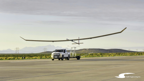Swift Engineering's high altitude long endurance (HALE) unmanned aerial system, getting ready for its maiden launch at New Mexico's Spaceport America. (Photo: Business Wire)