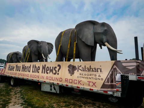 """Kalahari on Safari"" trekked through Texas, bringing a caravan of 22 life-size stone animal sculptures, to celebrate the opening of Kalahari in Round Rock on Nov. 12. (Photo: Kalahari Resorts and Conventions)"