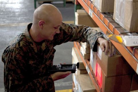 The USMC 2nd Supply Battalion's Supply Management Unit, which specializes in distributing and warehousing military goods and equipment, uses Aruba technology to enable secure connectivity and improve efficiencies in its warehouses. (Photo: Business Wire)