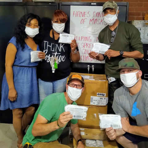 Hanes donates 1 million face masks to nonprofit organizations, including Pittsburgh Mercy's Operation Safety Net, to support those experiencing homelessness across America during the COVID-19 pandemic. (Photo: Business Wire)