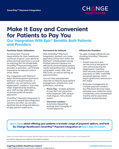 """Change Healthcare's SmartPay integration with MyChart® helps facilitate patient payments both pre- and post-service, and connectivity with Hyperspace® creates a """"one-stop shop"""" experience that lets providers' staff stay within Epic to process point-of-service payments."""