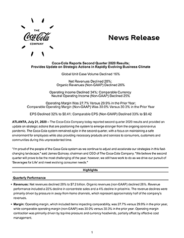 Coca-Cola second quarter 2020 full earnings release