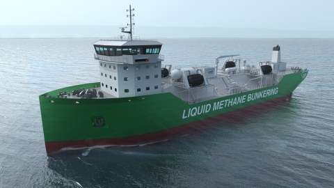 """Kanfer has entered into an exclusive agreement with CGR to market its proprietary Liquid Methane Bunkering Vessel (""""LMBV"""") and other state-of-the-art technologies to customers in the global shipping industry. The unique LMBV design improves bunkering operational reliability and reduces costs. (Photo: Business Wire)"""