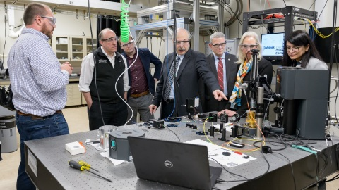 Department of Energy Under Secretary for Science Paul Dabbar and Argonne and UChicago scientists and leaders discuss quantum entanglement along Argonne's quantum loop, a 52-mile fiber optic testbed for quantum communication in the Chicago suburbs. (Image by Argonne National Laboratory)