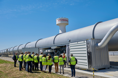 US Department of Transportation officials inspect HyperloopTT's full-scale prototype in Toulouse, France (Photo: Business Wire)