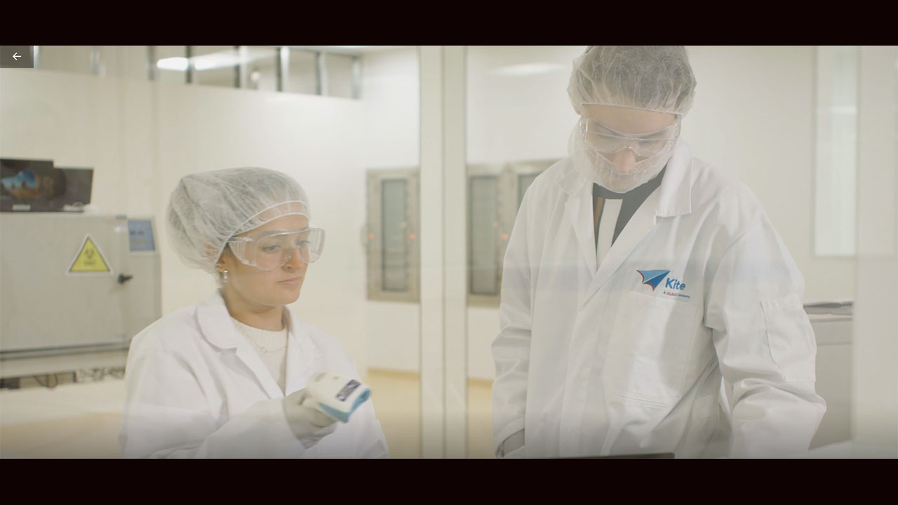 B-roll video of cell therapy manufacturing at Kite