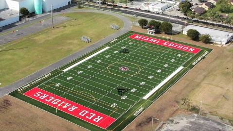 Miami Edison High School was the first to use ocean plastic infill on its football field. (Photo: Business Wire)