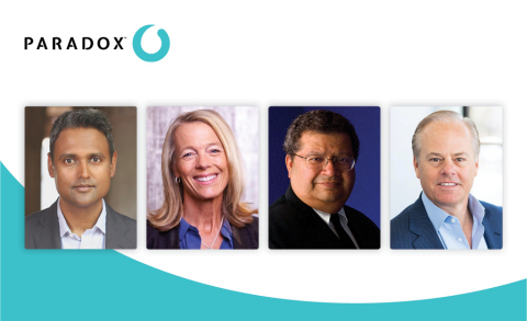 Paradox continues its investment in innovative leaders with the appointment of Diana McKenzie, Deepak Krishnamurthy, and Huggy Rao to their Board of Directors. They join Board Chairman Mike Gregoire and other board members to drive transformation in recruiting, HR, and talent management. (Photo: Business Wire)