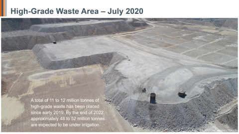 Figure 7: High-Grade Waste Area. A total of 11 to 12 million tonnes of high-grade waste has been placed since early 2019 and by the end of 2022, approximately 48 to 52 million tonnes are expected to be under irrigation. (Photo: Business Wire)