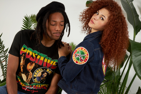 The 11-piece Wrangler x Bob Marley collection features heavy reggae influences and revivals of Marley's favorite Wrangler styles, including one men's and one women's denim jacket, four men's and three women's tees, and two unisex lasered shirts. (Photo: Business Wire)