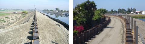 米国カリフォルニア州での堤防補強工事例(左 2008年、右 2013年)(写真:ビジネスワイヤ)