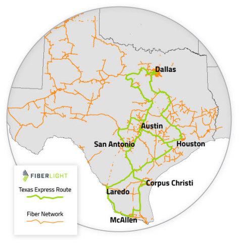 FiberLight announces the completion of its 100G Texas Express Routes connecting Dallas, Austin, San Antonio, Houston, Corpus Cristi, Laredo and McAllen (Photo: Business Wire)