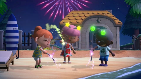 Get in the fireworks spirit by redeeming Bells for raffle tickets in the plaza to get festive items you can use in Animal Crossing: New Horizons. (Photo: Business Wire)