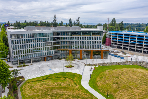 """""""The Hub,"""" Alaska Airlines' new 128,000-square-foot corporate office in SeaTac, WA, delivered by Howard S. Wright, a Balfour Beatty company. (Photo: Business Wire)"""