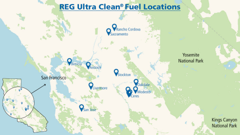 Renewable Energy Group is partnering with Hunt & Sons to supply REG Ultra Clean® at 12 locations in Northern California. (Graphic: Business Wire)