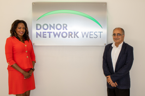 Janice F. Whaley, CEO and Ahmad Salehi, M.D., Ph.D., Director of Research of Donor Network West, this year's NDRI and AOPO Empowering Research and Discovery Award recipients. (Photo: Business Wire)