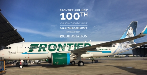 The trio of A320neos on lease from CDB Aviation include Chinook the Gray Wolf, the 100th A320 member of Frontier's fleet. (Photo: Business Wire)