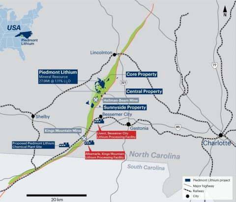 Figure 1: Piedmont Lithium project located within the TSB (Graphic: Business Wire)