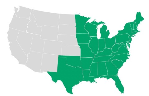 Brightmark is working to procure more than 1,200,000 tons per year of post-use plastic types 1 through 7 from the Eastern half of the United States for recycling at its existing and soon-to-be-built plastics renewal plants nationwide. (Graphic: Business Wire)