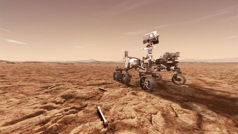 As Perseverance explores, the Maxar-built robotic arm will manipulate, assess, encapsulate, store and release collected Martian soil and rock samples. Image: NASA JPL-Caltech