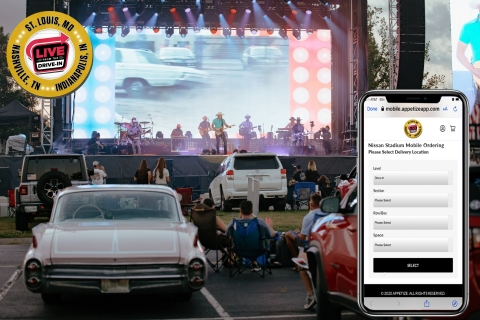 Fans at Live From The Drive-In can order through Appetize using their phones from their space. (Graphic: Business Wire)