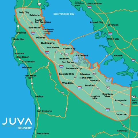 Juva Delivery serves the Peninsula. ShopJuva.com (Graphic: Business Wire)