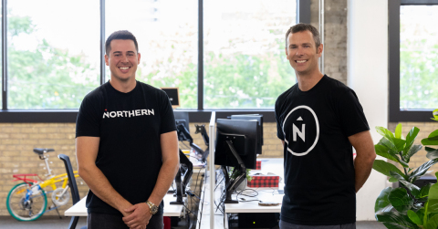 Michael Delorenzi, President of Northern Commerce (L) and Andrew McClenaghan, President of Digital Echidna (R) at Northern's head office located in London, Ontario's SoHo tech corridor. (Photo: Business Wire)