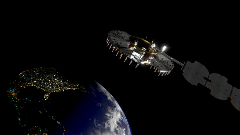 L3Harris Technologies completed critical design review and is on track to begin building the U.S. Air Force's first experimental Navigation Technology Satellite-3 (NTS-3), pictured here in an artist's rendering. (Photo: Business Wire)