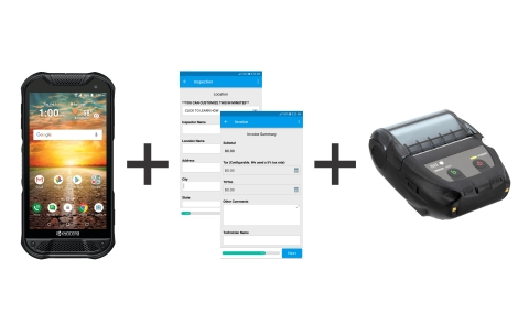 New ruggedized mobile printing solution with Kyocera Mobile's DuraForce PRO 2 rugged Android smartphone, SII Printers thermal printer & GoCanvas customizable software helps businesses process work orders and provide receipts in harsh environments. (Photo: Business Wire)