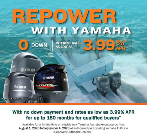 """Repower with Yamaha"" Offers Customers Zero Down, Rates as Low as 3.99 Percent APR for up to 180 Months."