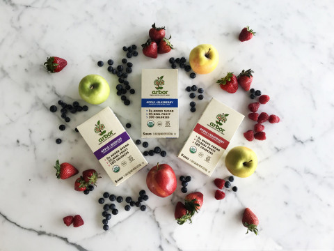 With five ingredients or fewer, real fruit and 0 grams of added sugar, new certified organic arbor bars are available nationwide in three delicious flavors – Apple + Berries, Apple + Blueberry and Apple + Raspberry. (Photo: Business Wire)