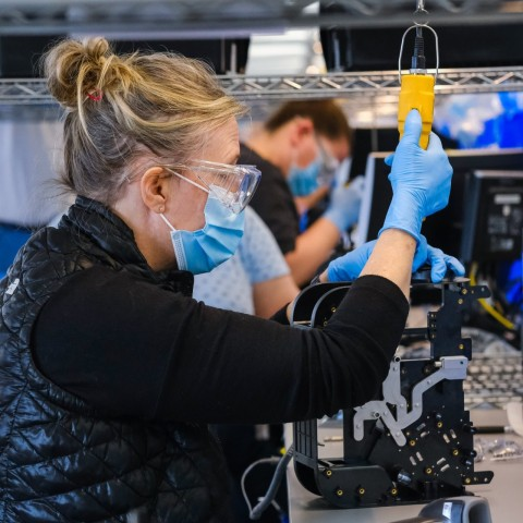 GM 3D printed tooling used for critical care ventilators on Stratasys systems. (Photo: Business Wire)