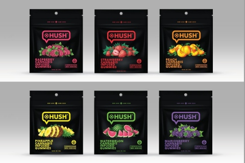 The initial launch plan will feature updated branding for Hush™ in six strain-specific flavors (Photo: Business Wire)