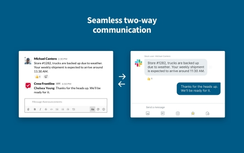 Corporate leaders using Slack can now communicate seamlessly with store managers and other field leaders using Crew. (Graphic: Business Wire)