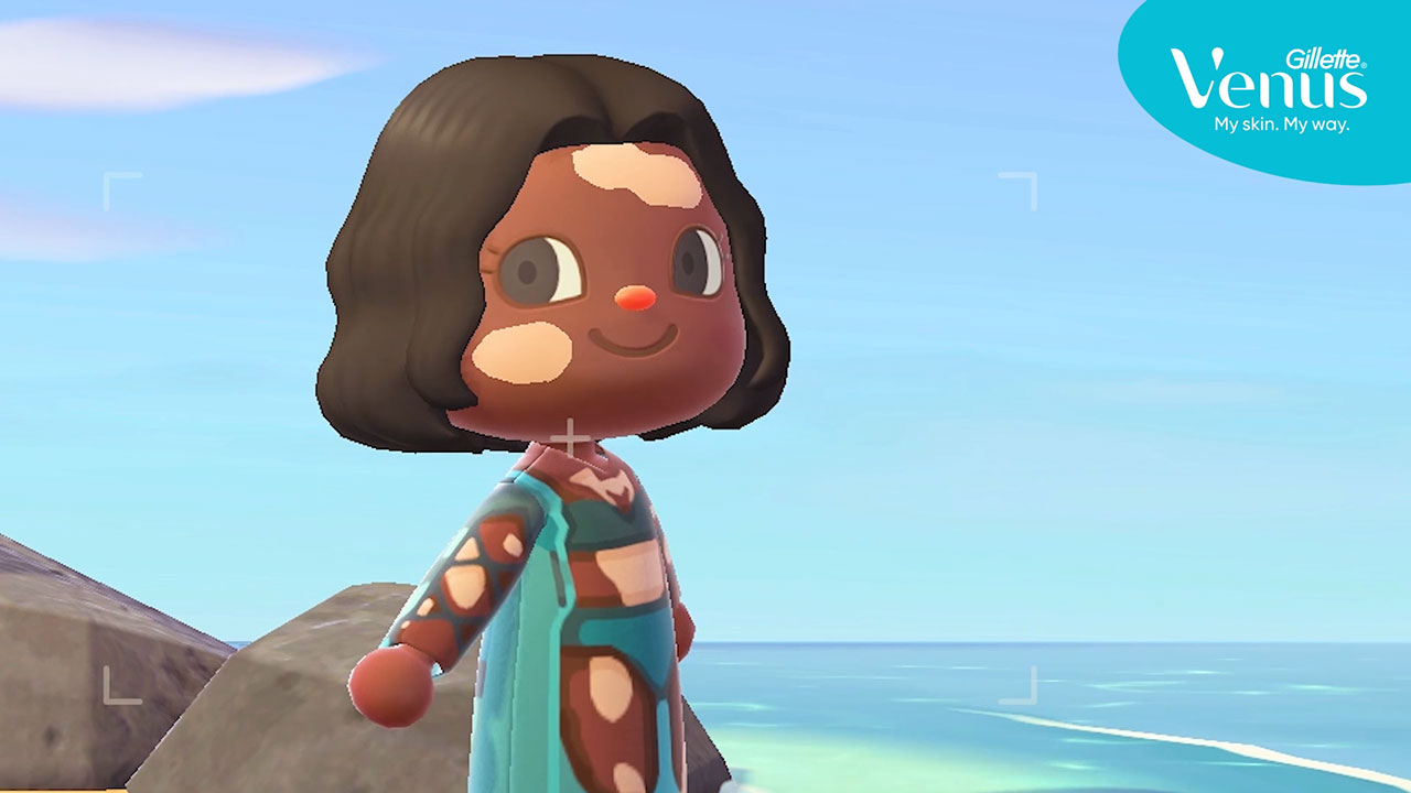 It is important to ensure all women and all skin are represented and celebrated. Everywhere. That's why Venus partnered with digital designer, Nicole Cuddihy, to co-create new avatar designs within Animal Crossing that serve as the largest offering of skin-inclusive designs to ever be available within the game.