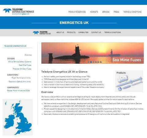The new Teledyne Energetics UK website (Graphic: Business Wire)