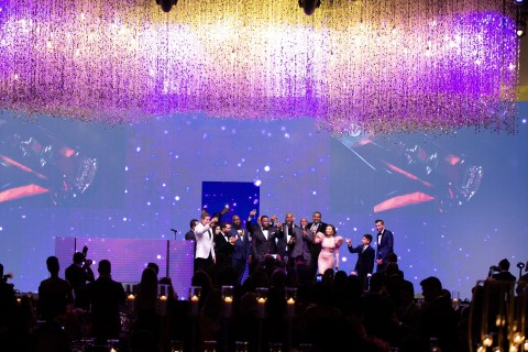 Rapper 50 Cent, Actor Wayne Brady and Television Personality Jeannie Mai lead the Houston Gala attendees and Altus Foundation Board Members in a toast to the Foundation's accomplishments of changing lives and helping community members during 2019. (Photo: Business Wire)