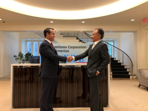 Brian Neff (left), CEO of Sintavia, and Kevin Hyuga (right), SVP and General Manager of Sumitomo Corporation of Americas (2018 file photo) (Photo: Business Wire)