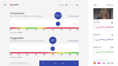 Medio Smart Health login-based web application for personal health management and COVID-19 specific symptom tracking (Graphic: Business Wire)