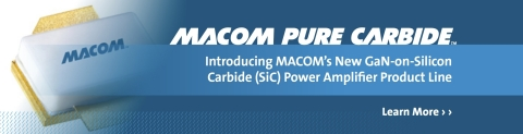 MACOM announces the introduction of its new Gallium Nitride on Silicon Carbide (GaN-on-SiC) power amplifier product line, which it is branding MACOM PURE CARBIDE™. (Graphic: Business Wire)